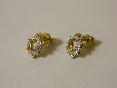 10K Yellow Gold Citrine Fashion Earrings W/ Diamond Accent New