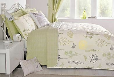 BOTANIQUE FLORAL BUTTERFLY PRINTED BEDSPREAD GREEN CREAM 229cm x 195cm
