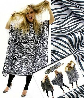 Zebra Print Hair Cutting Gown Cape With Hook Fastening Collar by Hair Tools