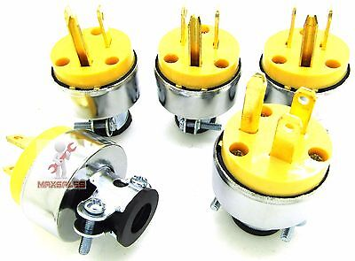 WMYCONGCONG 5 PCS 3-Wire Male Extension Cord Replacement Electrical Plugs End