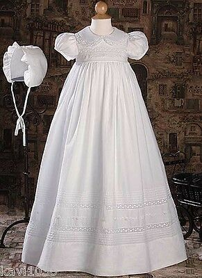 Girls White Christening Baptism Gown Dress Handmade Hand Embroidered Size 0-12M