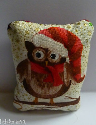 Owl Christmas Pin Cushion Cotton Front Tartan Reverse in Organza Gift Bag