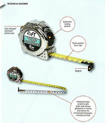 F T 'Top Chrome' 3m Tape Measure - DOUBLE SIDED Metric/inches print