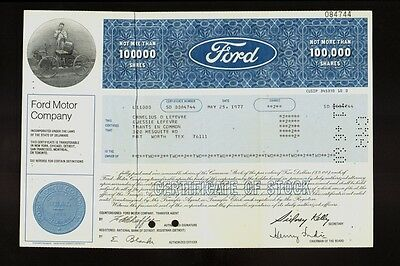 FORD MOTOR COMPANY dd 1977 old stock certificate iss to Cornelius Lefevre