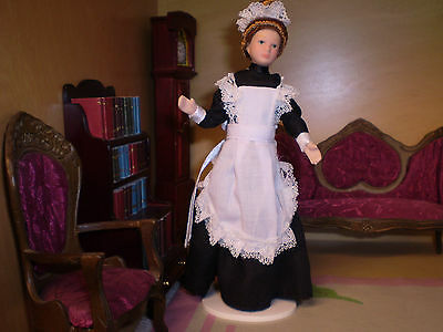 Dolls house figure 1/12th scale Porcelein Maid in Black dress