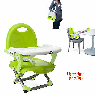 New Chicco Pocket Snack Portable Highchair Lime Removable Tray Three Heights