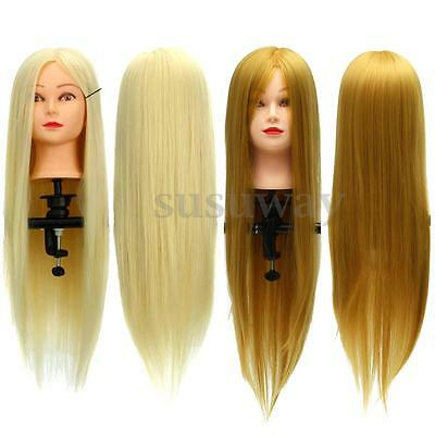 26'' Real Human Hair Hairdressing Training Head Cosmetology Mannequin + Clamp