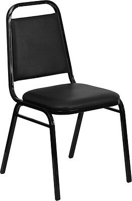 12 LOT NEW Black Padded Back/Seat Banquet Stack Chair