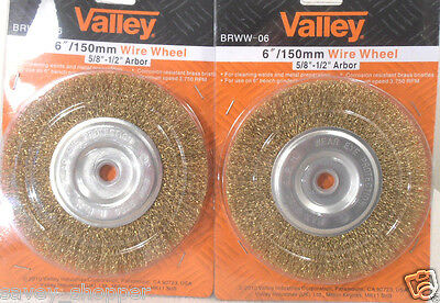 "LOT OF (2) 6""x 1/2-5/8""  ARBOR  WIRE BRISTLES  BRASS COATED WIRE WHEEL BRUSH"