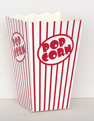 10 POPCORN BOXES - Red/White Stripes (Party/Food/Retro/Hollywood/Movie/Treat)