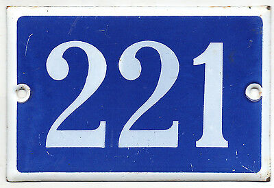 Old blue French house number 221 door gate plate plaque enamel steel metal sign