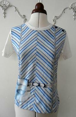 BNWOT Vintage 1970's Blue, Grey, Black & Cream Cotton T-Shirt Sz 8-10 Deadstock
