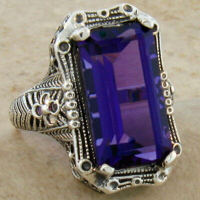 6.5 Ct. Lab Amethyst Antique Style .925 Sterling Silver Ring Size 5,      #347