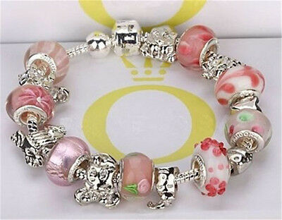 Womens Fashion Jewellery 925 Solid Silver Bangle Beads Charms Bracelet Gift