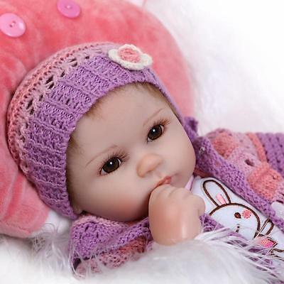 Nicery Reborn Baby Doll Soft Silicone 18in. 45cm Toy Red Pillow Eyes Open Magnet
