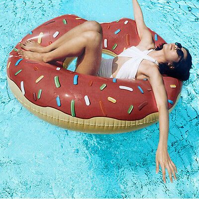 Inflatable Giant Donut Floating Swim Ring Tyre Tube Beach Swimming Pool Aid Toys
