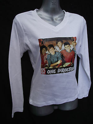 BNWOT Girls Sz 8 One Direction 1D Photo White Long Sleeve V Neck Stretch Top