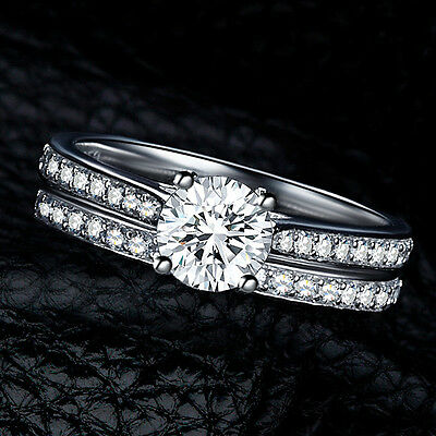 2Pcs Women Wedding Engagement Rings Silver Plated Zirconia Crystal Ring Fashion