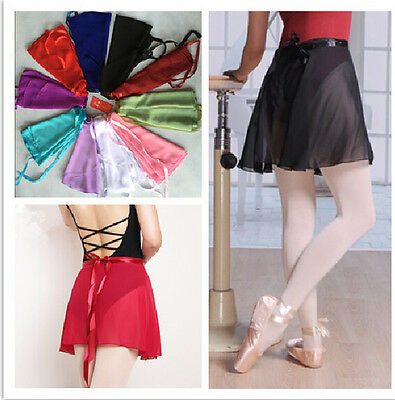 Adult Women Girls Kid Child Wrap Over Scarf Skirt Dance Ballet Chiffon 10 Colors