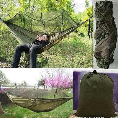 Forest Green Parachute Nylon Jungle Mosquito Net Hammock for Camping Outdoor AU
