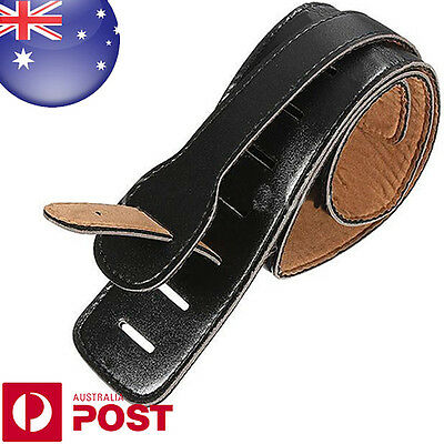 Adjustable Soft Leather Thick Strap Black for Electric Acoustic Guitar Bass D142