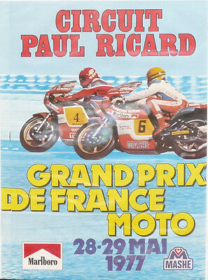 """FRENCH MOTORCYCLE GP 1977 Paul Ricard Poster 25 x 17"""" ( 640 x 430mm)"""