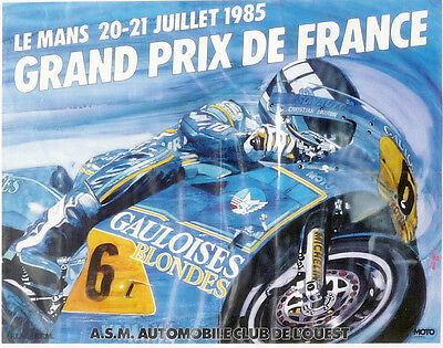 """FRENCH MOTORCYCLE GP 1985 Paul Ricard Poster 15 x 20"""" ( 530 x 400mm)"""