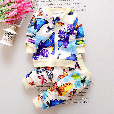 2PCS Baby Girls Autumn Clothes Butterfly Cardigan Tops+Pants Outfits Set 0-4Y