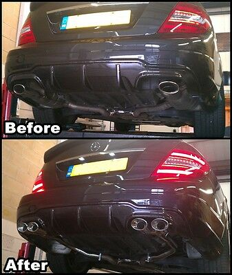 MERCEDES C350 AMG STYLE QUAD CONVERSION.CUSTOM EXHAUST.w204.2009 ONWARDS