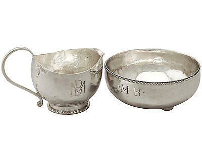 Sterling Silver Cream Jug & Sugar Bowl, Arts and Crafts Style, Antique George V