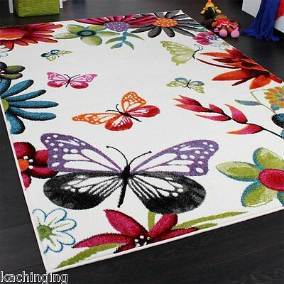 Butterfly Rug Bed Play Room Mat Carpet Children Nursery Kid Cream Multicoloured