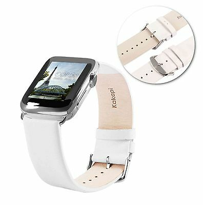 Tuff-Luv Genuine Leather Wrist Strap Band for Apple Watch 1 / 2 Strap-42mm-White
