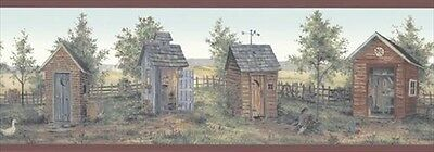 Weathered Outhouses in the Country Brewster Wallpaper Border BVB50166