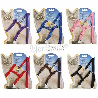 Small Pet Dog Puppy Cat Adjustable Flexible Nylon Harness Collar Leash Lead