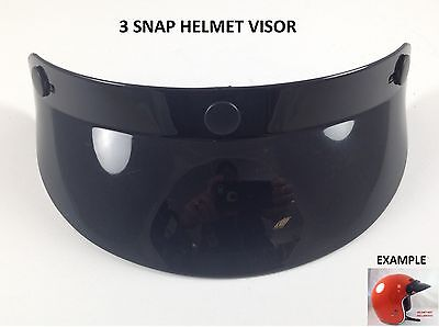 3 Snap Helmet Visor Sun Shield Vintage Motocross Motorcycle Fits Open Face 3/4