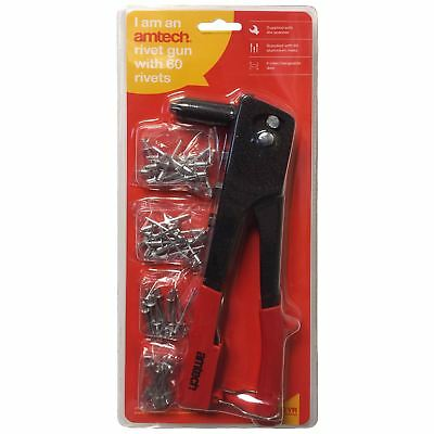 Am-Tech B3400 Rivet Gun With 60 Pop Rivets Interchangeable Automotive Garage