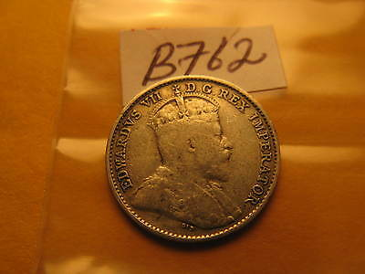 1908 Canada Rare 5 Cent Five Cent Silver Coin Large 8? Small 8? ID#B762.