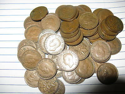Rare Lot Canada 50 Random Mix King George VI Era Pennies.