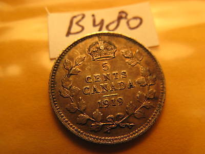 1919 Canada 5 Cent Five Cent Silver Coin ID#B 480.