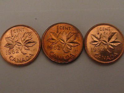 Canada 1962 Small Cent Penny 3 Varieties Rare Set Plain,Hanging 2 And Harp.