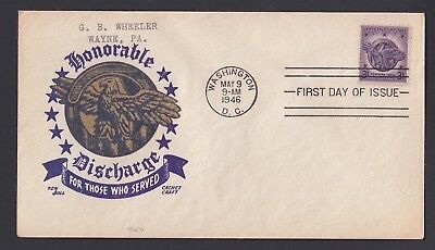 Usa 1946 Wwii Honourable Discharge Veterans Boll Cachet Craft Patriotic Cover