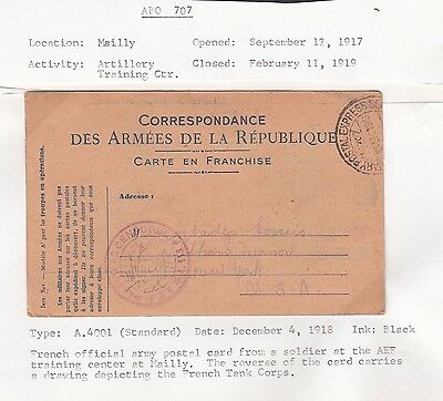 Usa 1918 Wwi Aef Censored Artillery Training Postal Card Mailly To New York