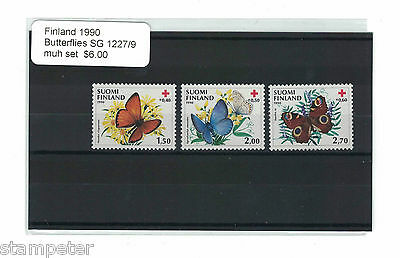 1990 Finland Butterflies SG 1227/9 Set of 3 MUH