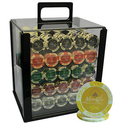 1000pc 14G MONTE CARLO MILLIONS CLAY POKER CHIPS SET ACRYLIC CASE