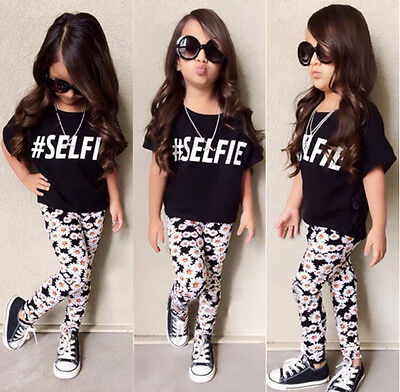 Hot Baby Kids Girls Summer Clothes Floral Lace Tops Daisy Pants Outfits Age 2-7Y