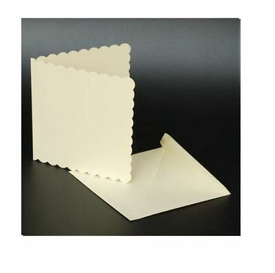 "50 IVORY SCALLOPED 5"" x 5"" BLANK CARDS 270gsm & ENVELOPES CARD MAKING CRAFT 1011"