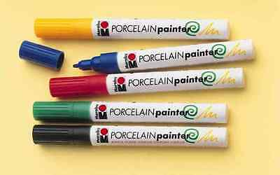 5 Marabu Porcelain Paint Ceramic Glass Marker Pens Gloss Assorted Colours