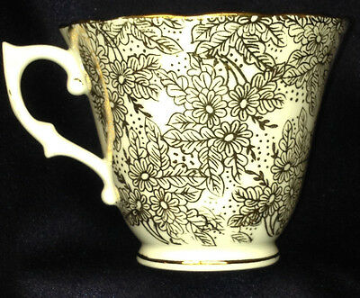 Colclough China Longton England Clc8 Cup Gold Filigree Flowers 8 Oz Capacity