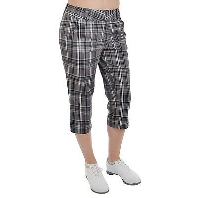 Sunice Silver Collection Womens Plaid Checked Golf Capri Pants - Black/Pld - 10