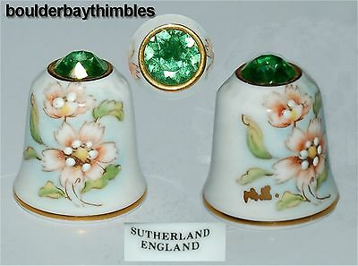 TCC SUTHERLAND JEWEL CROWNED FLORAL Thimble #01 APPLE GREEN CRYSTAL